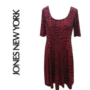 JONES NEW YORK 8 Dress Fit Flare Midi Red Black